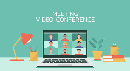 people connecting together, learning or meeting online with teleconference, video conference remote working on laptop computer, work from home, new normal concept, vector flat illustration