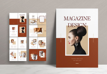 Magazine Layout with Brown Accents