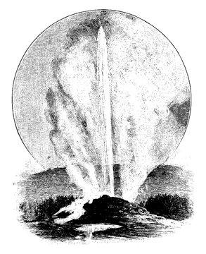 geyser in eruption, vintage illustration.