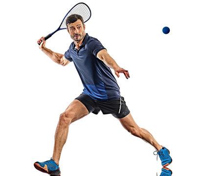 squash player man isolated white background