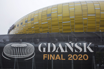 Banner announcing the 2020 UEFA Europa League final, near the Stadium Energa in Gdansk