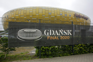 Banner announcing the 2020 UEFA Europa League final near the Stadium Energa in Gdansk