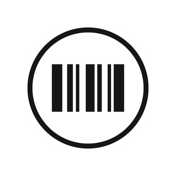 Black round single scanning barcode on phone screen icon, simple ecommence business coding flat design interface element for app logo ui ux web button banner, vector isolated on white background