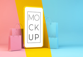 Shopping Concept with Mobile Mockup