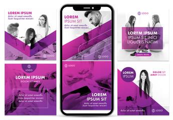 Multipurpose Purple Social Media Kit Layout