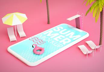 Smartphone Pool Summer Mockup