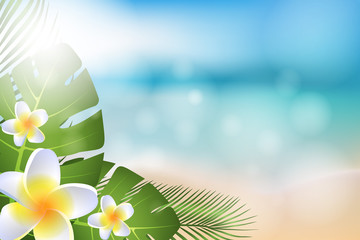 Summer background with beach, sea, tropical leaves and flowers. Vector EPS 10.