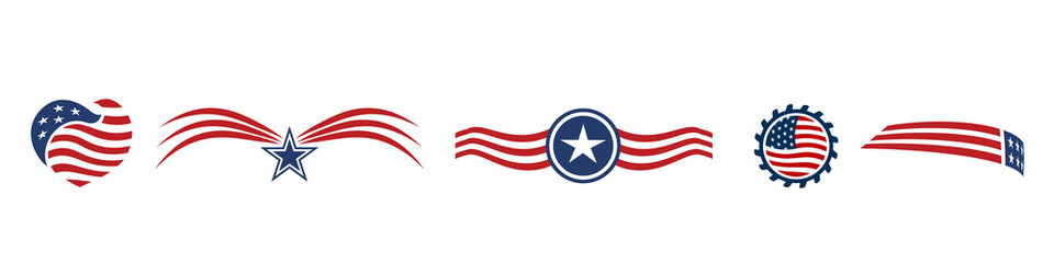 Set USA icons red white and blue stars and stripes logo vector