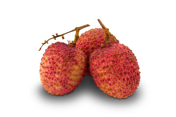 Fototapete - Freshly harvested lychees isolated on white background with clipping path.