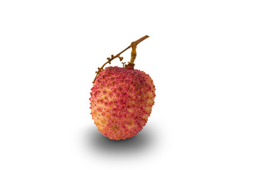Fototapete - Ripe lychee or litchi chinensis isolated on white background with clipping path.