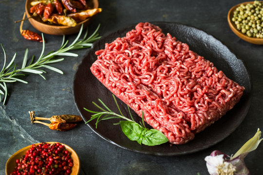 Fresh minced meat with spices