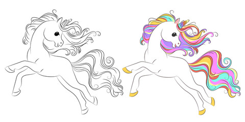 Fototapeten Pony Cute unicorn line and color. Vector illustration for coloring book
