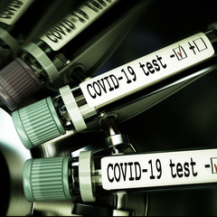 Tube of biological sample contaminated by Coronavirus with label Covid-19. Vials of blood in a centrifuge. Pandemic infectious concept. 3D