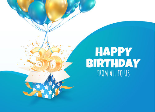 Celebrating of 36 th years birthday vector 3d illustration. Thirty six anniversary celebration. Open gift box with explosions confetti and three and six golden numbers flying on balloons