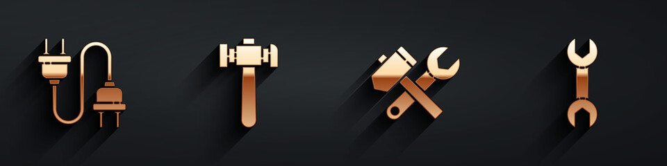 Set Electric plug, Hammer, Hammer and wrench spanner and Wrench spanner icon with long shadow. Vector