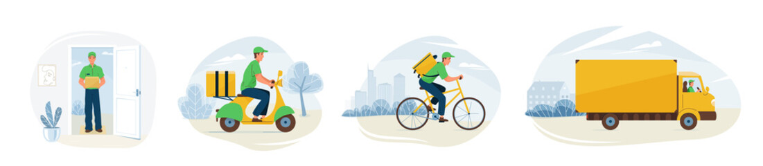 Delivery service vector illustration. Fast online deliver by courier man, bicycle, motorcycle and truck to work or home. Moving transport design in trendy flat style isolated on white background
