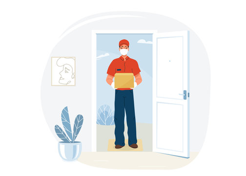 Delivery service vector illustration. Courier stand near open home door and hold package box. Man protected by safe mask and gloves in pandemic period