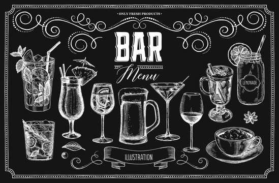 Set of cocktails on a chalk board. A selection of illustrations for the design of the menu of restaurants and bars.