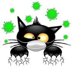 Photo on textile frame Draw Cat with Face Mask scared by Virus Covid19 Humorous Cartoon Character