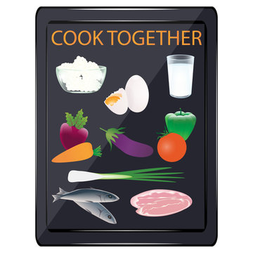 Cook together. Tablet - dairy, meat products, vegetables, eggs - vector. Online courses. Home Cook. Online cuisine.