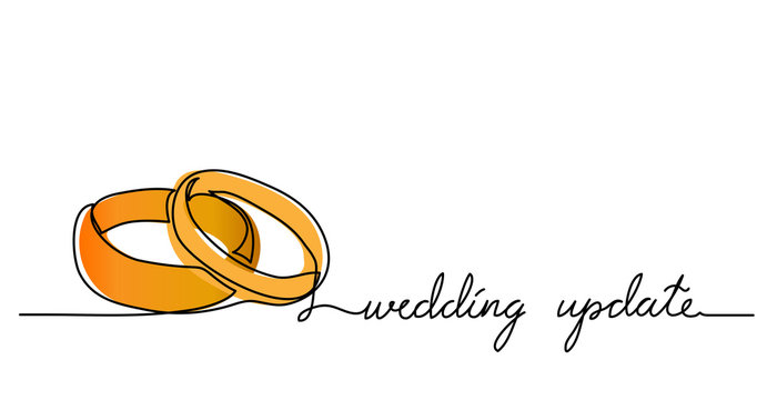 Wedding update simple vector rings card,sketch, web banner, background. One continuous line drawing illustration with lettering. Updated or postponed wedding. Editable stroke.