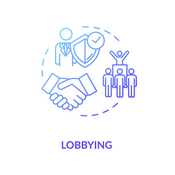 Lobbying concept icon. Social interest representation idea thin line illustration. Government persuasion. Legislators agreement. Vector isolated outline RGB color drawing
