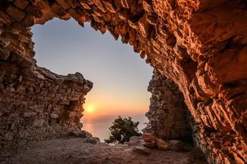 Monolithos Castle in Greek village on the island of Rhodes, South Aegean, Greece