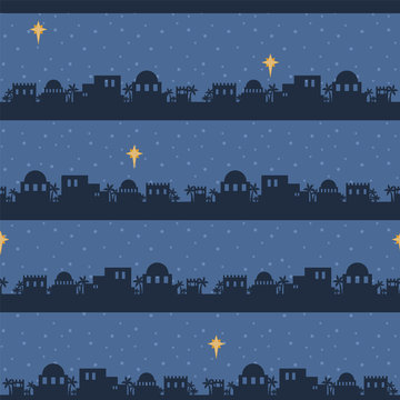 Vector Blue Bethlehem Skyline Silhouette Seamless Pattern Background