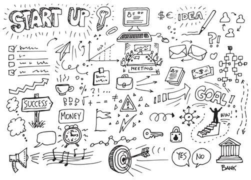 Business start up doodles hand-drawn sketch set