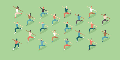 Training outdoors. Open air. People doing group exercise in the park keeping distance from each other.Social distancing after covid-19 coronavirus quarantine. Flat vector illustration