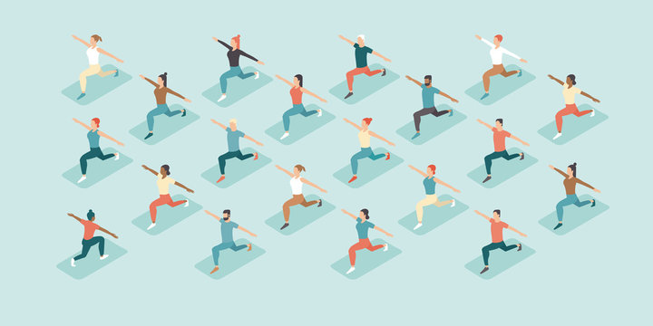 Social distancing in a gym. People doing group exercise keeping distance from each other. Training in a sport club after covid-19 coronavirus quarantine. Flat vector illustration