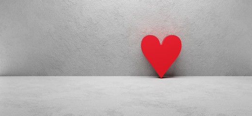 white concrete wall with red heart sign, concept image, cgi render illustration