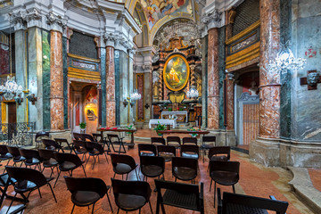 Interiors of the Blessed Margaret of Savoy church in Alba, Italy.