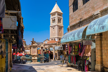 Small square and belfry in Old City of Jerusalem.