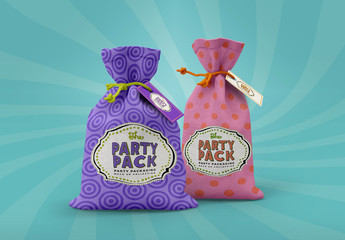 2 Cloth Gift Pouches Mockup