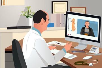 Doctor Talking With Patient Using Telehealth Online Meeting Vector Illustration
