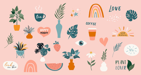 Collection of handwritten phrases, quotes, stickers and decorative design elements, plants, rainbow and leaves, hand drawn in trendy doodle style. Colorful vector illustrations and prints