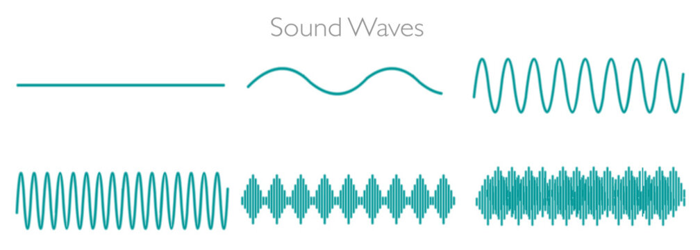 Sound waves. Audio frequency high low amplitude pitch note tone voltage volume. Green, black line rhythm, noise. On white screen, abstract background. Music, medical, education, illustration Vector