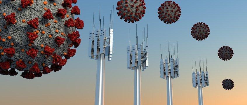 Coronavirus 5G Antenna 3D illustration