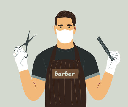 A Barber in a face mask and gloves with scissors and a comb in his hands. Prevention of coronavirus, covid-19, in beauty salons. Hair care at home.