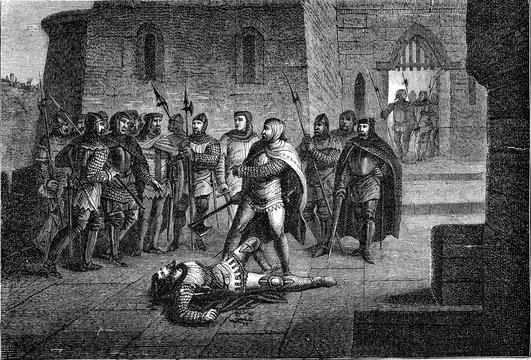 Death of Etienne Marcel, vintage illustration.