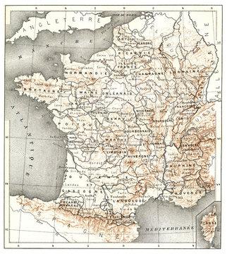 Former provinces of France, vintage illustration.