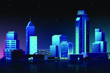 Urban scene at night background vector Fotomurales