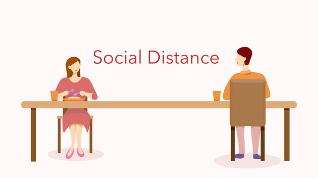 Social distance in restaurant or cafe concept. A woman and a man sitting separately having their meal in new normal after COVID-19 pandemic. Vector illustration, flat design