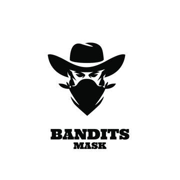 american Western Bandit Wild West Cowboy Gangster with Bandana Scarf Mask Logo illustration