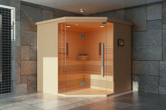 Classic Wooden Infrarered Finnish Sauna Cabin in Bathroom Interior. 3d Rendering