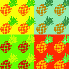 Summer pop art pineapple illustration concept. Colorful pattern  pineapples on a exotic background in pop-art style. Poster or postcard design, template for menu in cafe. Vector eps10.