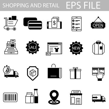 Shopping and retail icon set. EPS vector file