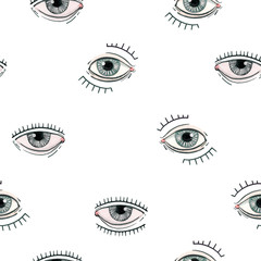 Beautiful seamless pattern with watercolor eyes. Stock illustration.