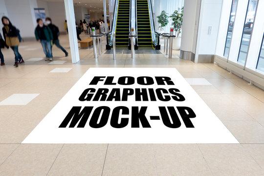 ock up perspective vertical billboard on floor in building